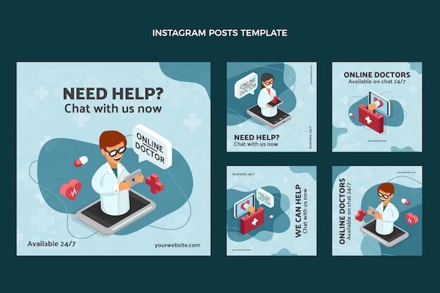 Conjunto de postes instagram médicos de design plano
