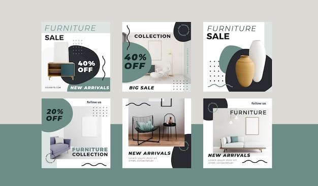 Conjunto de postes instagram para venda de móveis