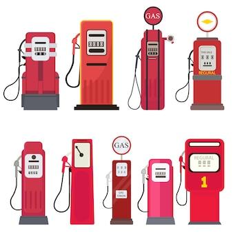 Conjunto de posto de gasolina distribuidor gasolina isolado no fundo branco