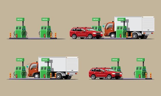 Conjunto de postos de petróleo, automóveis e caminhões