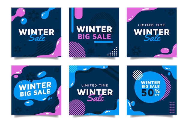 Conjunto de posts de instagram de venda de inverno