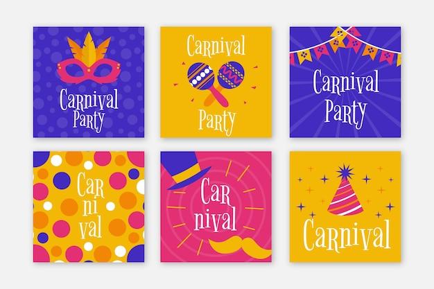 Conjunto de posts do instagram de festa de carnaval