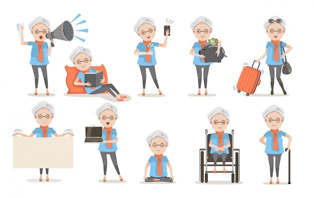 Conjunto de postura de mulheres idosas.