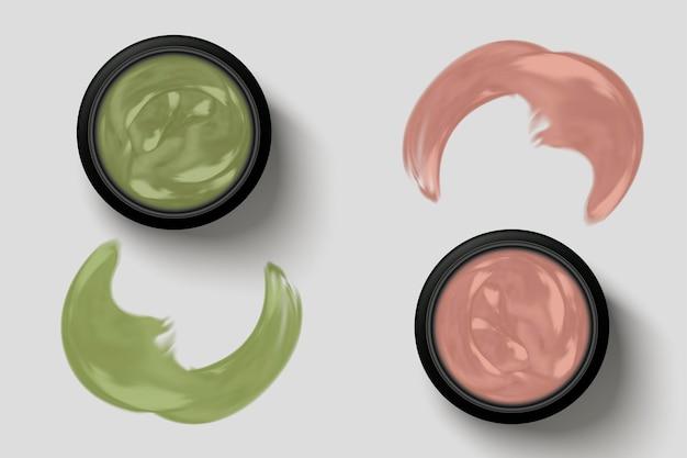 Conjunto de pote de creme, vista superior do pote de creme de ervas com textura cremosa em rosa e verde, ilustração 3d