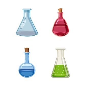 Conjunto de pote químico. conjunto de desenhos animados de pote químico