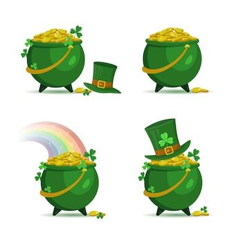 Conjunto de potes com moedas de ouro e chapéu de duende para o dia de patrick