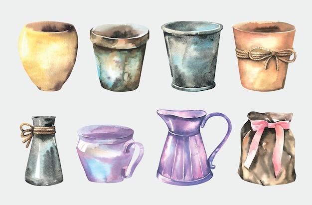 Conjunto de potes de aquarela