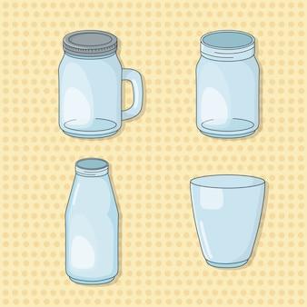 Conjunto de potes de bebidas de vidro