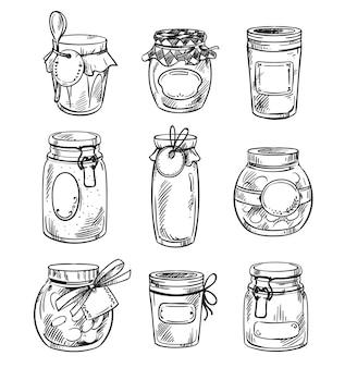 Conjunto de potes de pedreiro desenhados à mão com geléia, ilustração vetorial