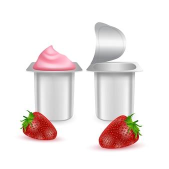 Conjunto de potes de plástico fosco para iogurte