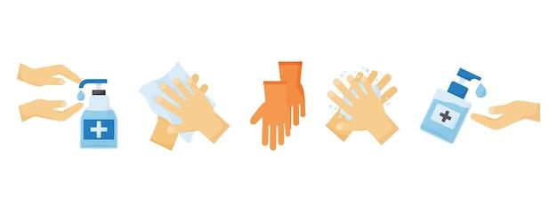 Conjunto de ppe de desinfecção. frascos de desinfetante para as mãos, luvas. higiene das mãos. ilustração médica