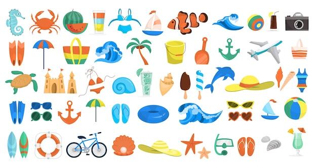 Conjunto de praia. coleção de coisas das férias de verão