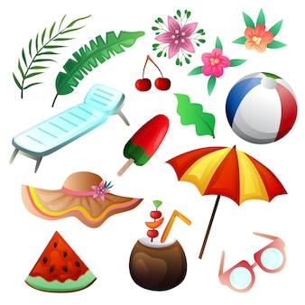 Conjunto de praia de férias elemento verão colorido