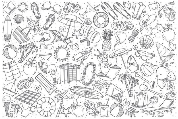 Conjunto de praia desenhada de mão