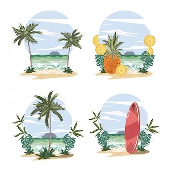 Conjunto de praia e paisagens de verão tropical cartoons