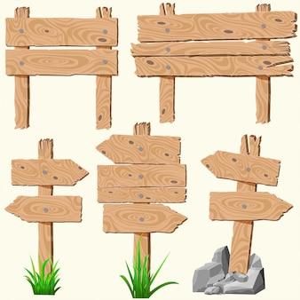 Conjunto de pranchas de madeira