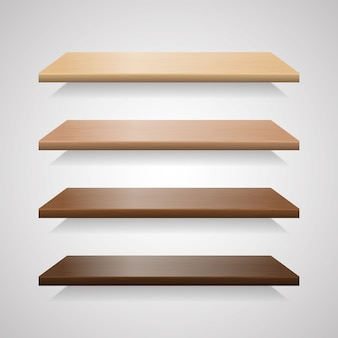 Conjunto de prateleiras de madeira com sombras
