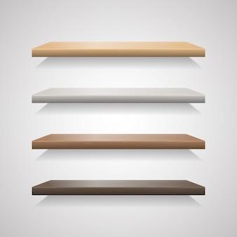 Conjunto de prateleiras de madeira no fundo cinza
