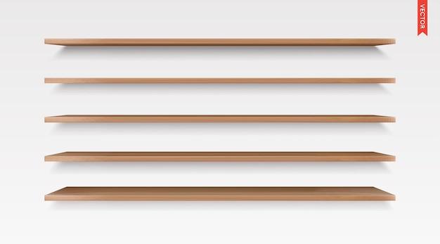 Conjunto de prateleiras de madeira vetoriais isoladas no fundo da parede