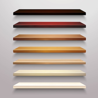 Conjunto de prateleiras de madeira