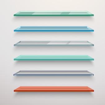 Conjunto de prateleiras de vidro