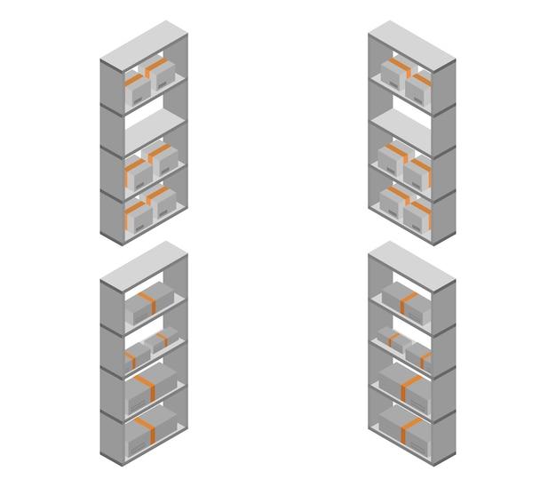 Conjunto de prateleiras isométricas do armazém