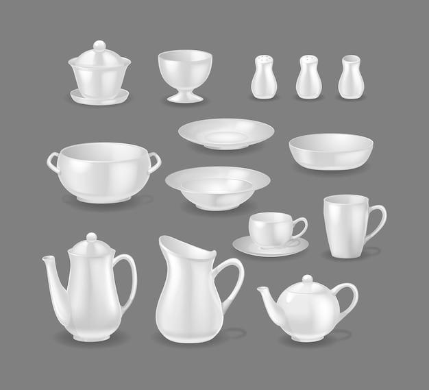 Conjunto de pratos brilhantes brancos realistas. louça de cerâmica 3d, modelo de maquete de louça. pratos, tigelas, chaleira, bule, jarra, xícara, caneca, saleiro, pimenteiro, açucareiro. utensílios de mesa para vetor de cozinha