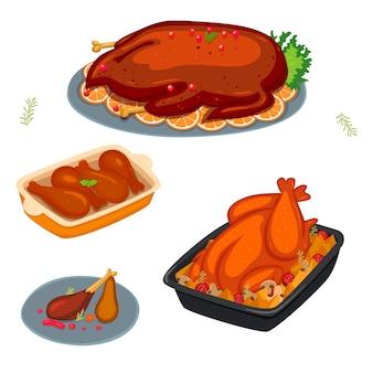 Conjunto de pratos com pássaro assado isolado em um fundo branco. gráficos.