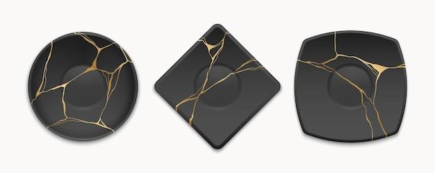 Conjunto de pratos com rachaduras kintsugi douradas