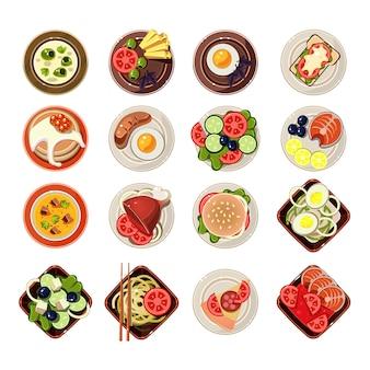 Conjunto de pratos com vários alimentos