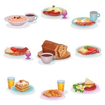 Conjunto de pratos de café da manhã inglês tradicional, mingau de aveia, purê de batatas com salsichas, ovos e presunto, bolo de frutas clássico, waffles