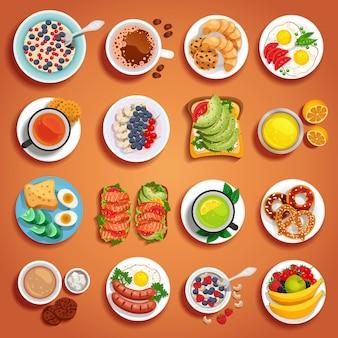 Conjunto de pratos de café da manhã laranja