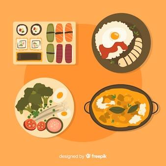 Conjunto de pratos de comida de mão desenhada