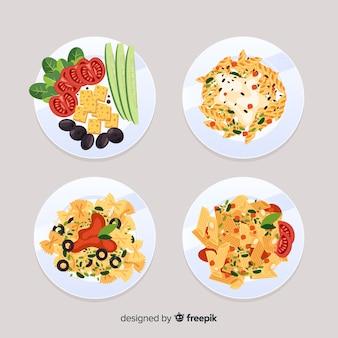 Conjunto de pratos de comida italiana