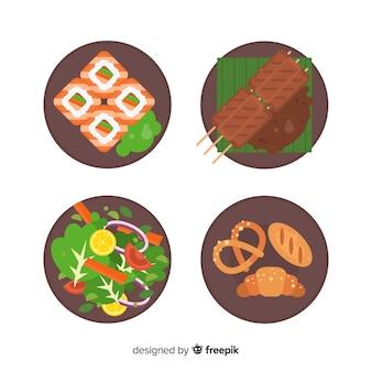Conjunto de pratos de comida plana