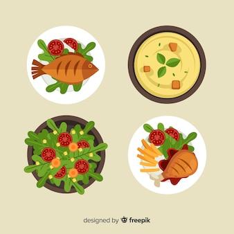 Conjunto de pratos de comida saborosa