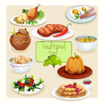 Conjunto de pratos de comida tradicional