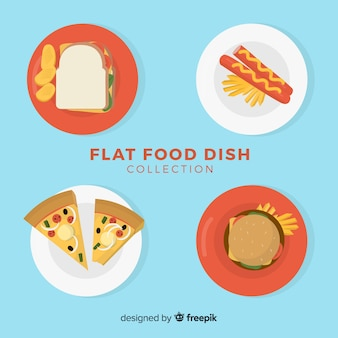 Conjunto de pratos de fast food