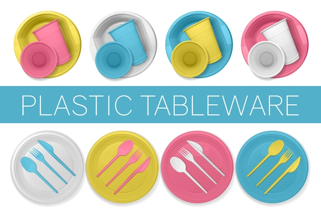 Conjunto de pratos de plástico realistas em um fundo branco. talheres descartáveis multicoloridos.