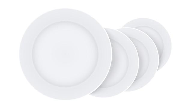 Conjunto de pratos em branco, modelo de maquete de placas em ilustração 3d em fundo branco