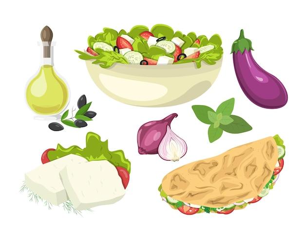 Conjunto de pratos gregos salada queijo feta cebola manjericão azeite e azeitonas