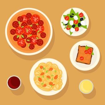 Conjunto de pratos italianos tradicionais