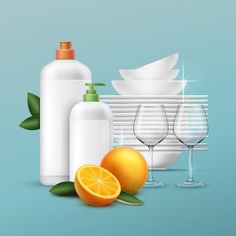 Conjunto de pratos limpos e copos com líquido para lavar louça com aroma de laranja