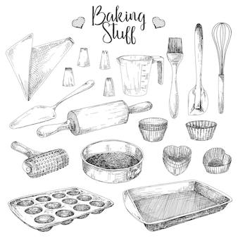 Conjunto de pratos para assar isolado no branco