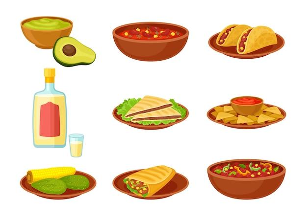 Conjunto de pratos tradicionais mexicanos