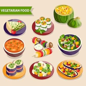 Conjunto de pratos vegetarianos