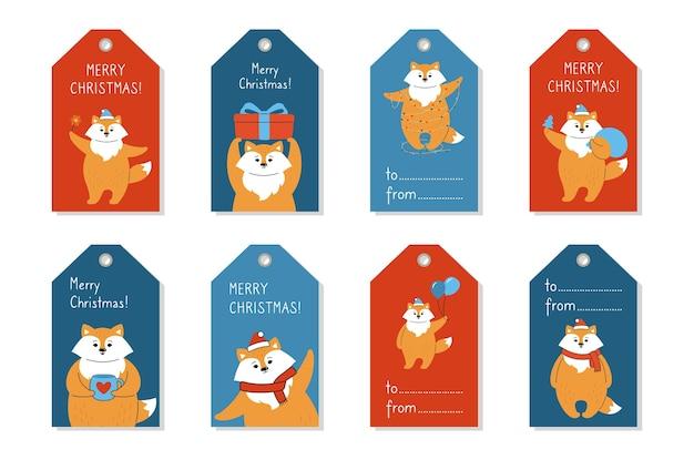 Conjunto de preços de etiqueta de natal, raposa de desenho animado