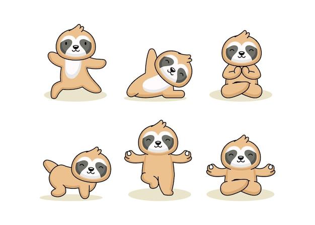 Conjunto de preguiça fofa em pose de ioga