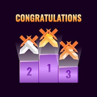 Conjunto de prêmio da interface do usuário de jogo de fantasia com medalhas de classificação de broadsword