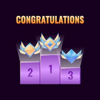 Conjunto de prêmio de classificação de interface do usuário de jogo de fantasia com classificação de diamante